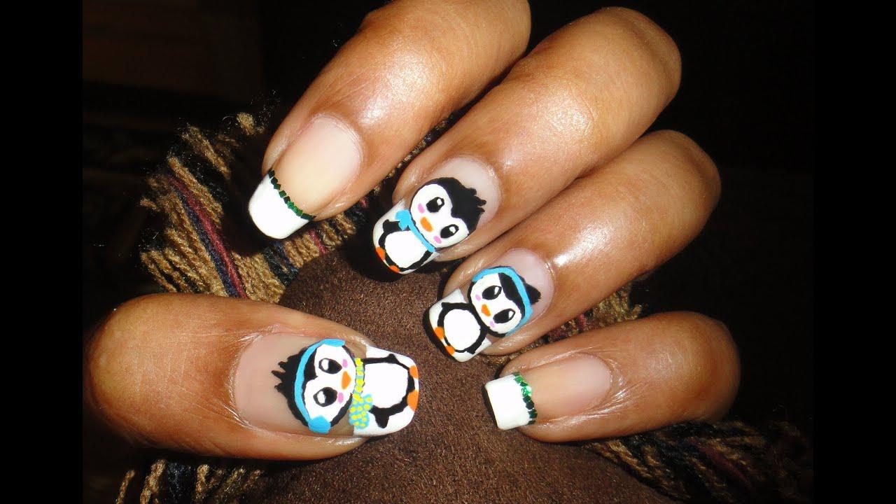 cute penguin nail art hd