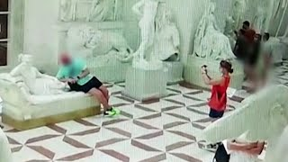 video: Watch: Tourist posing for photo breaks off toes of 200-year-old sculpture