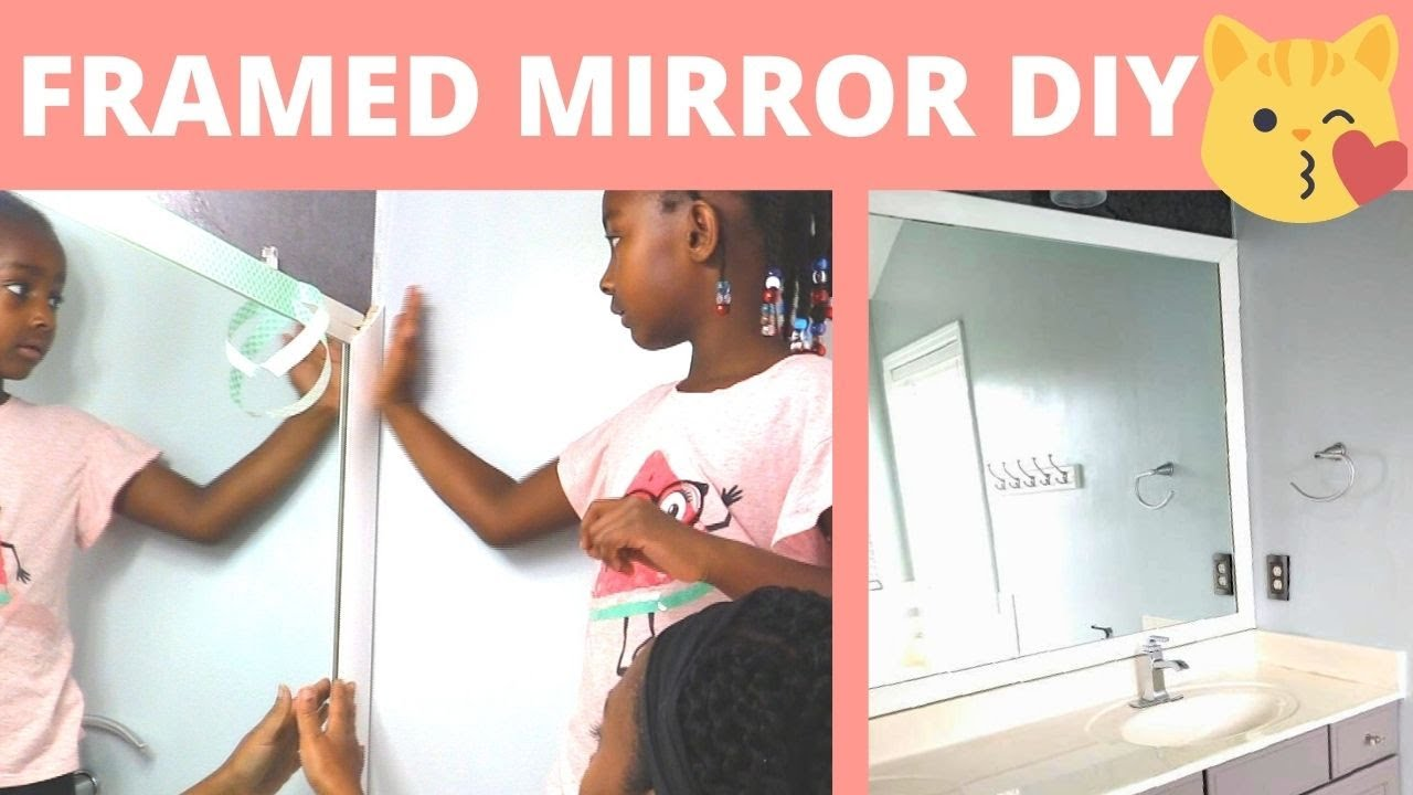 How We Framed Our Large Bathroom Mirror With No Glue Diy Power Couple Youtube