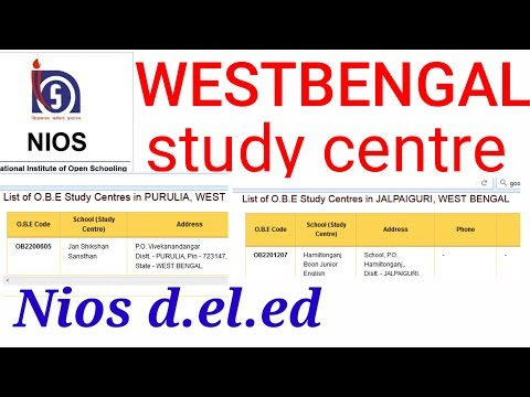 Nios d.el.ed study centre in your district. Find study centre in west bengal.