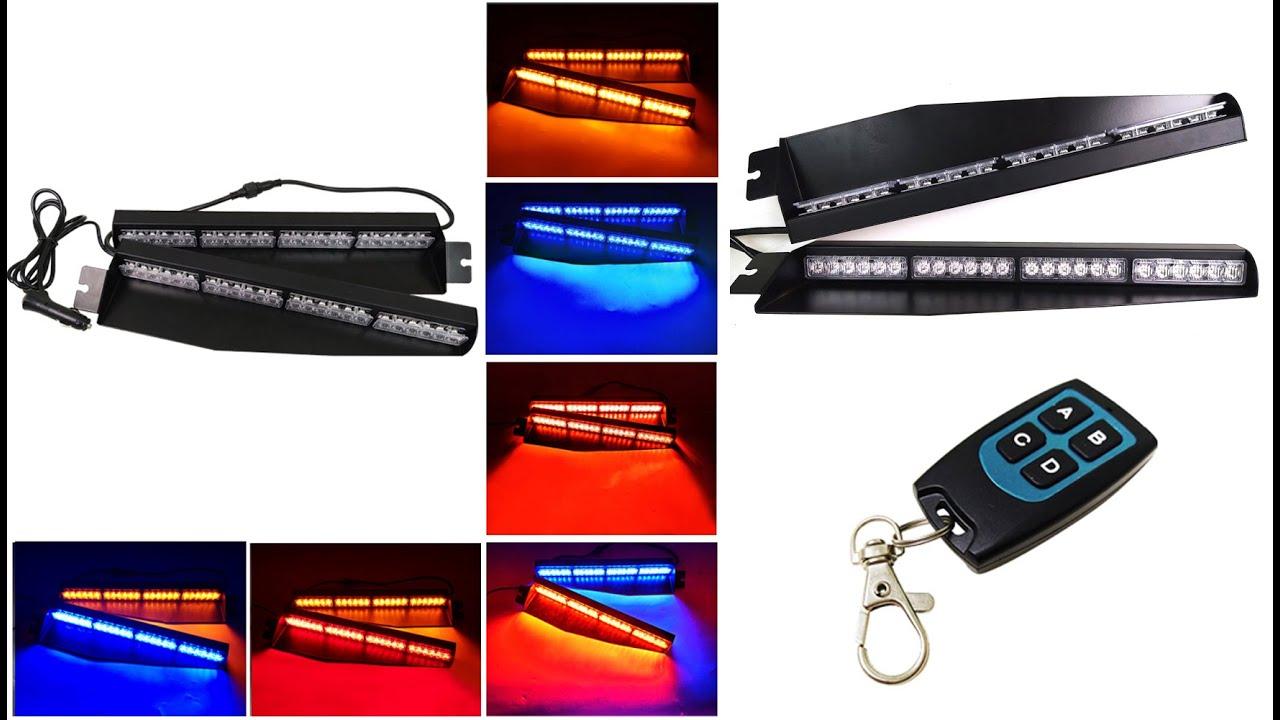 "34/"" LED 48W White//Amber 78 Flashing Modes Warn Emergency Strobe Visor Light Bar"