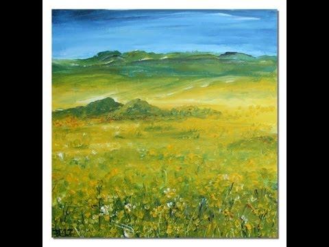 Landschaft malen: Rapsfeld 2  Painting Landscape rape field 2 canola field 2