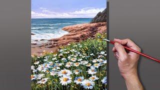 Acrylic Painting Daisies on Coastline