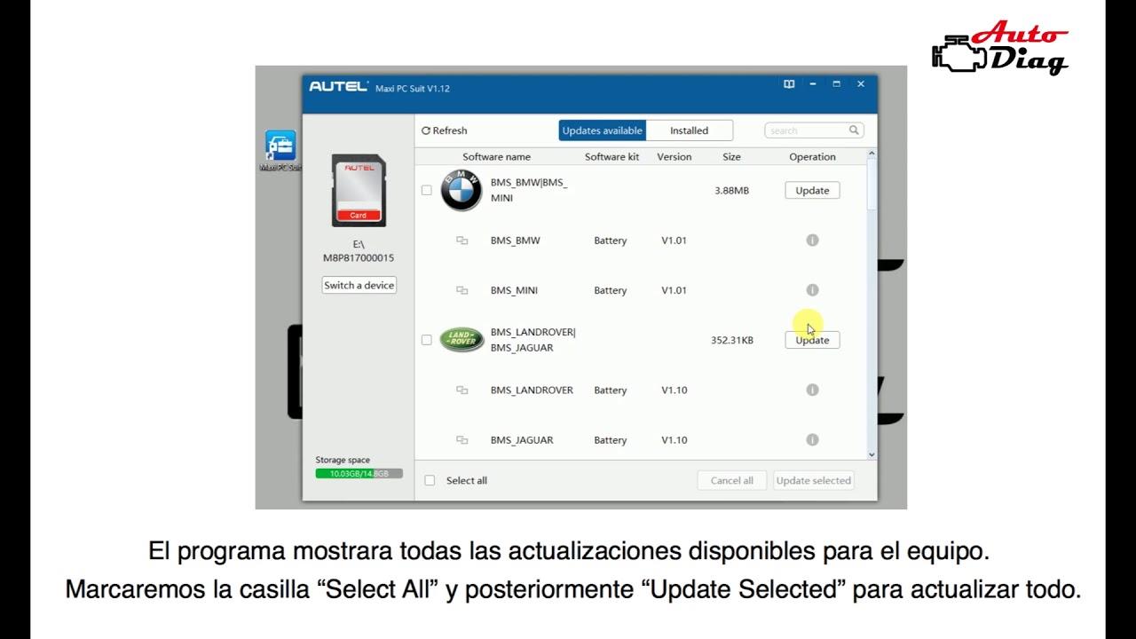 Como actualizar los equipos Autel mediante Maxi PC Suite