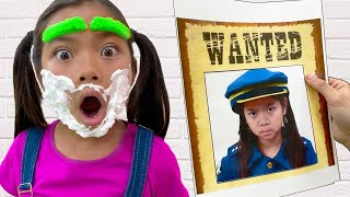 Emma and Ellie Pretends to Play Wanted Police Chase Adventure | Police Videos for Kids