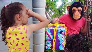 Komik saklambaç!! Öykü and Monkey - Grandpa Hide and Seek the Garden - Oyuncak Avı