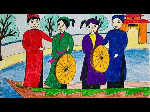 vẽ tranh lễ hội - Vẽ tranh đề tài lễ hội | Vẽ tranh ngày tết | Vẽ tranh lễ hội Hội Lim