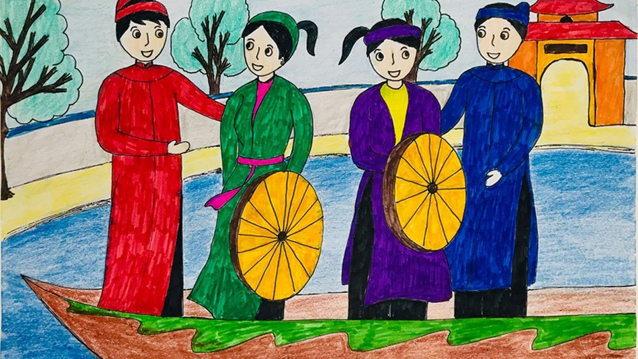 Vẽ tranh đề tài lễ hội   Vẽ tranh ngày tết   Vẽ tranh lễ hội Hội Lim   Tổng hợp những tài liệu về vẽ tranh đề tài ngày tết và lễ hội chuẩn nhất