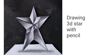 Drawing 3d star on paper with pencil
