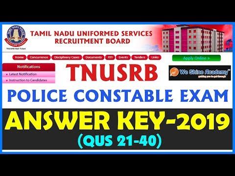 TNUSRB Police Constable Exam Answer Key 2019 | Question 21 - 40 | We Shine Academy