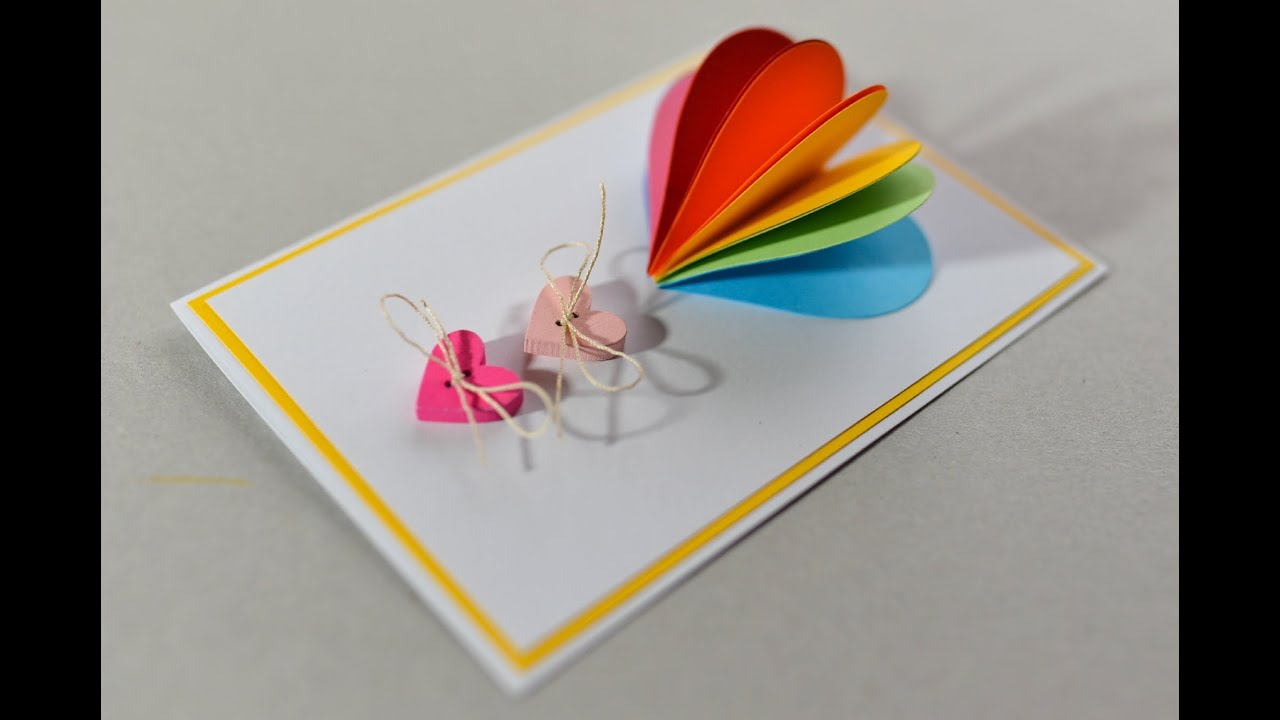 How to make valentines day card rainbow heart greeting card how to make valentines day card rainbow heart greeting card step by step kartka na walentynki youtube m4hsunfo