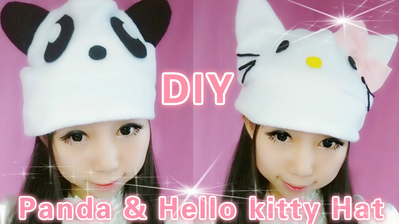 6ca429ded DIY Panda and Hello Kitty Hat (easy) - YouTube