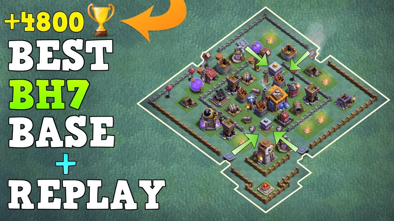 Best Builder Hall 7 Base W Replay Coc Best Bh7 Base