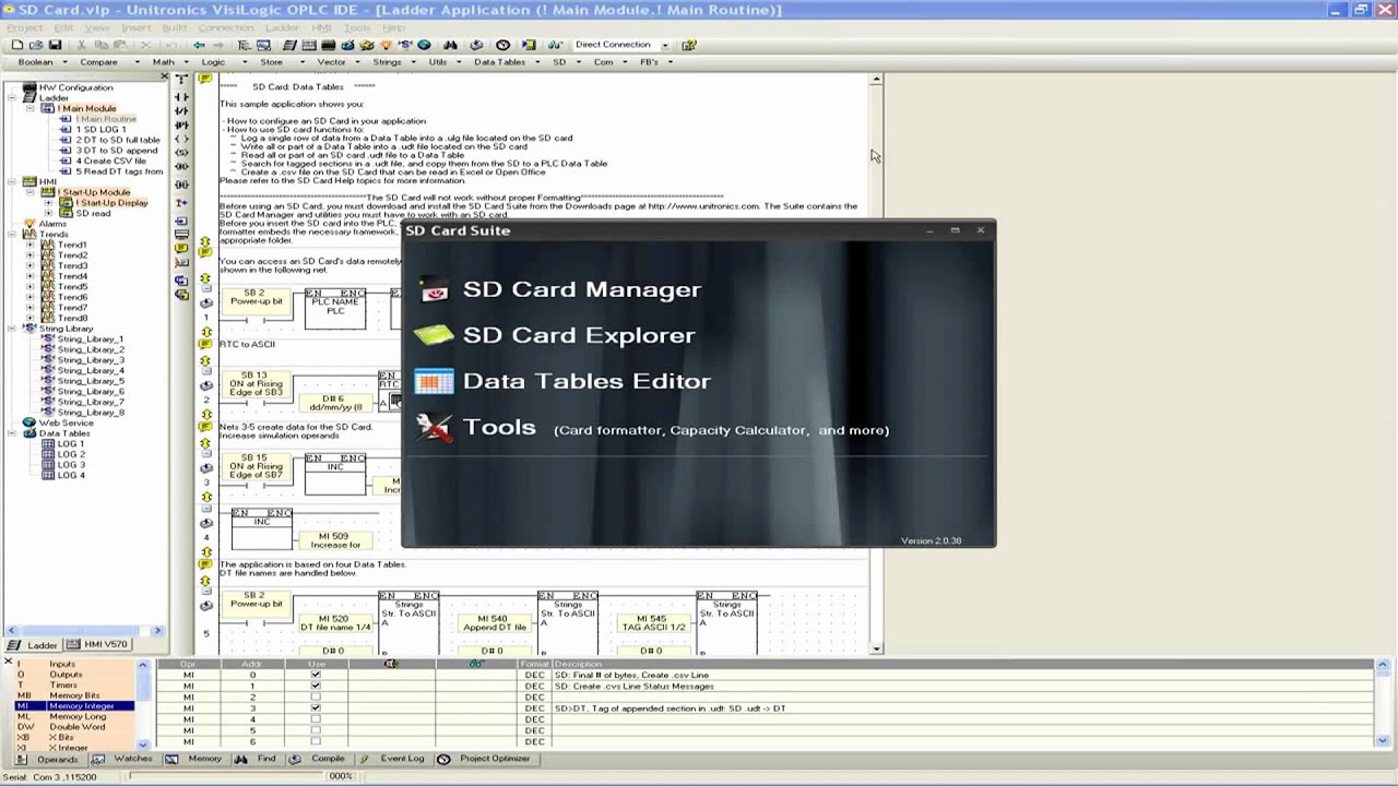 VisiLogic for Vision and Samba programmable controllers - SD Card (part 1)