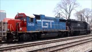 Illinois Central & GTW Geeps Switching Markham Yard, Homewood, IL, 04.21.13