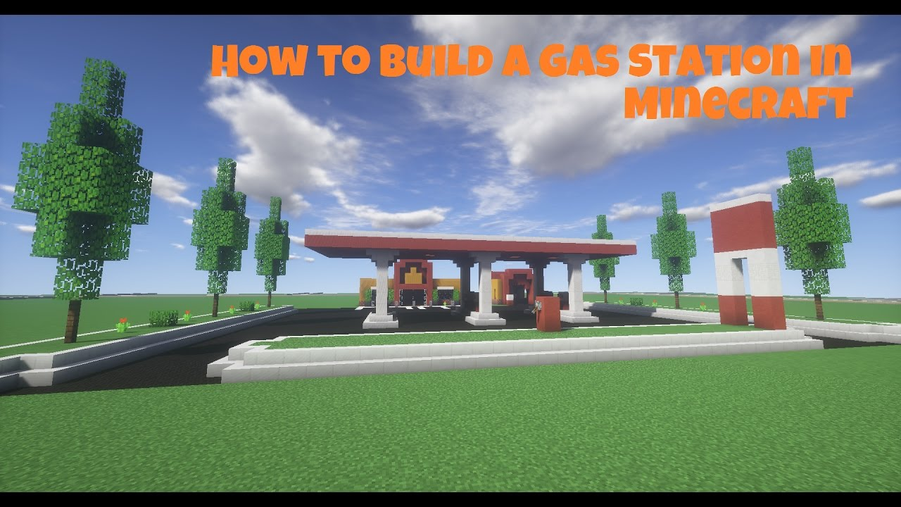 how to build a gas station in minecraft part 1 modern city youtube