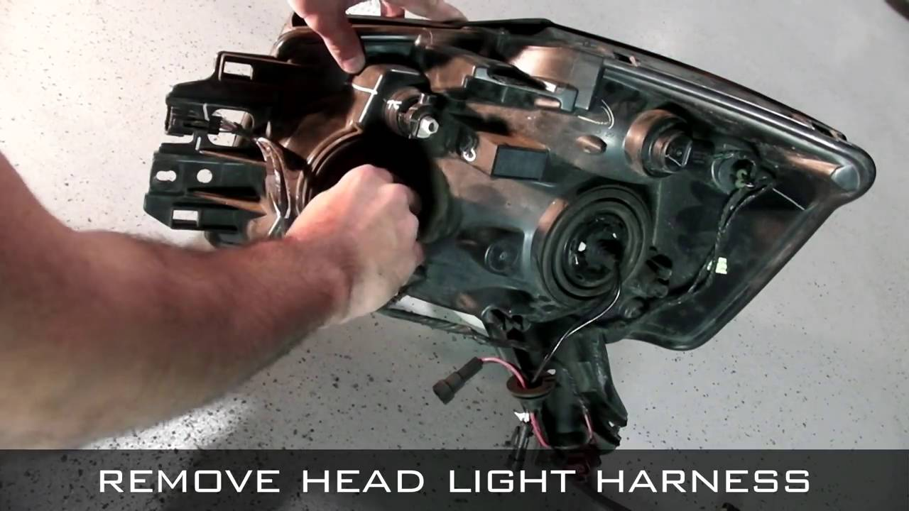 hight resolution of spyder auto installation 2004 2012 nissan titan 04 07 armada projector head light with drl l e d