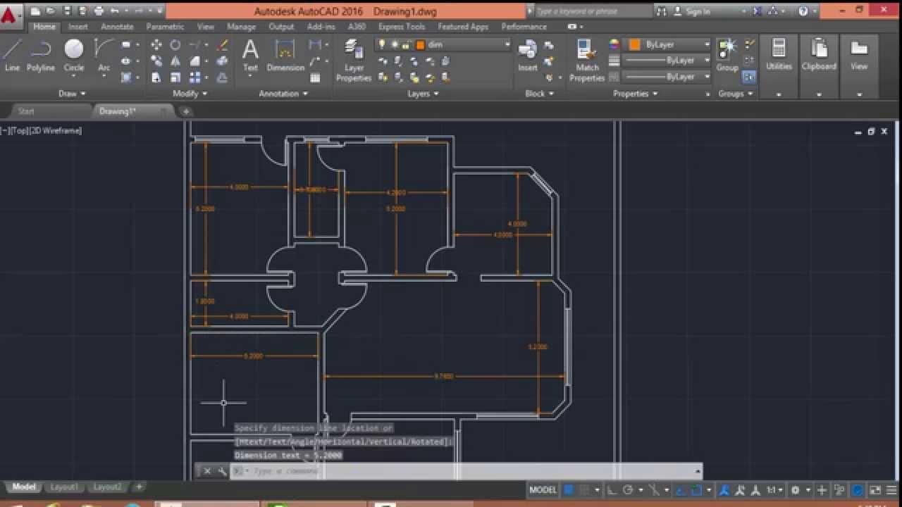Autocad 2016 Floor Plan Drawing Youtube