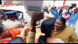 Tension prevails during Women Commission Chairperson Vasireddy Padma visit to Guntur