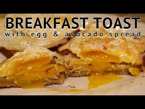 Healthy Breakfast: Fried Egg & Avocado Toast Open Faced Sandwich