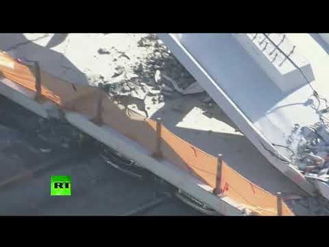 Dogs search for survivors after bridge collapses in Florida