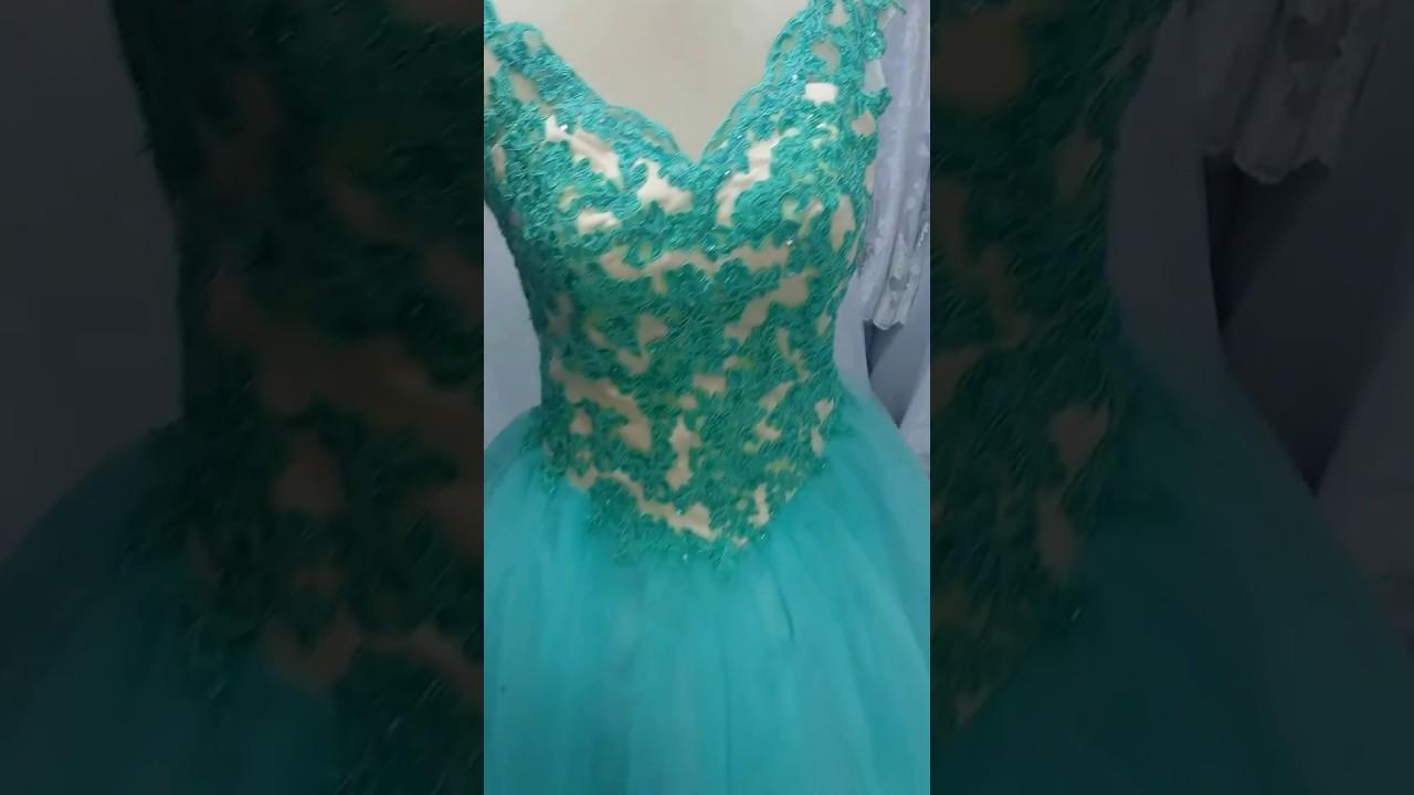 471b7a60e Vestido Debutante Verde Água G