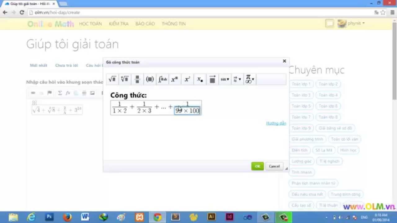 Hướng dẫn gõ công thức toán học trong OnlineMath