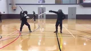 AHF Military sabre vs Katana sparring - Steve vs Nick