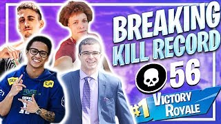 BREAKING THE KILL RECORD! 56 KILLS ft. Replays, Nick Eh 30 & TurkeyLips (Fortnite: Battle Royale)