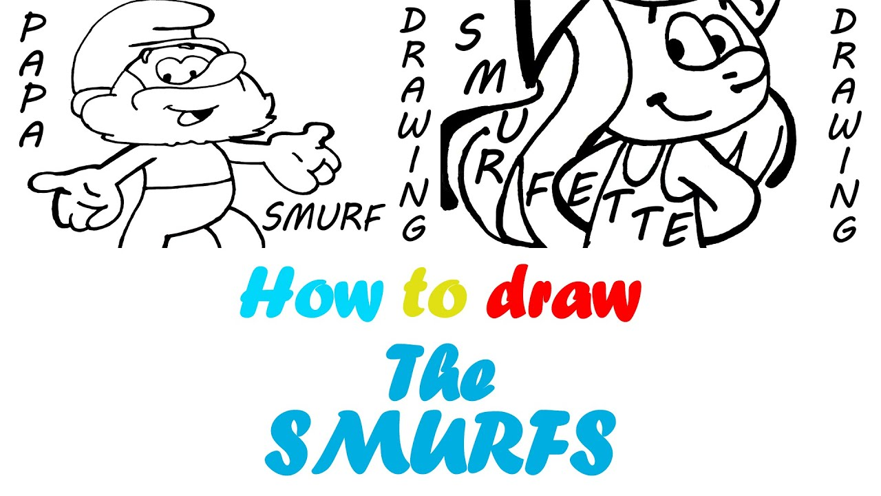 how to draw the smurfs easy smurfette and papa smurf for kids