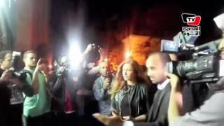 أحمد حلمي ومنى زكي وليلى علوي في عزاء والدة  شريف وعمرو عرفة