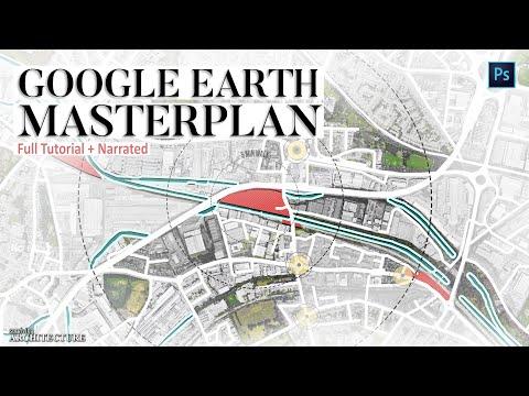 Google Earth Concept Master Plan Diagram In Photoshop [ Quickest Method ]