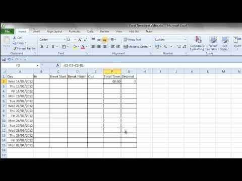 Simple Excel Timesheet