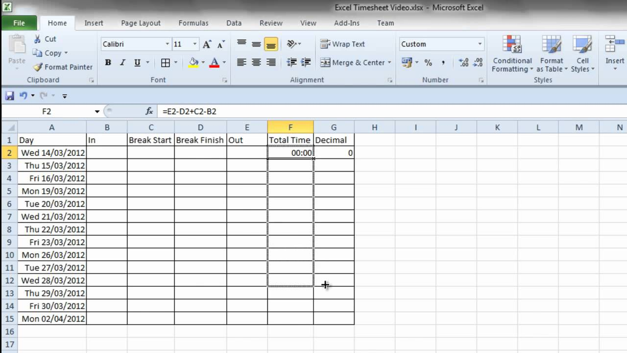 Simple Excel Timesheet YouTube – Monthly Timesheet Calculator