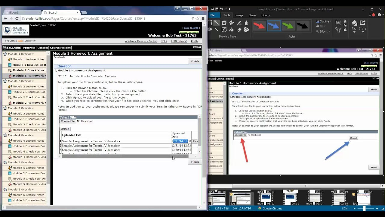 4 Student iBoard Uploading Assignments Split Screen. Allied Schools