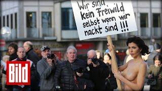 Nacktprotest gegen Sex-Mob am Kölner Dom - Aktionskünstlerin Milo Moiré