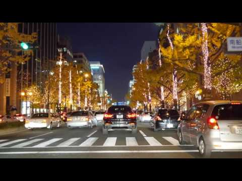 Osaka night drive 4K illumination 御堂筋