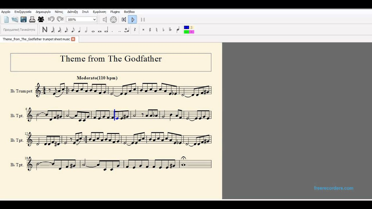 Theme From The Godfather Sheet Music For Trumpet Youtube