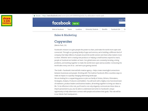 NOW HIRING 2017!!! Copywriter at Facebook - Careers and   Opportunities - Share a Job Vacancy