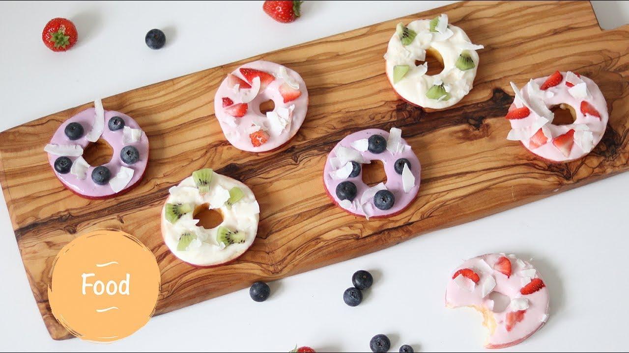 Wonderlijk Gezonde traktatie: appel donuts met yoghurt & fruit topping - YouTube VF-08
