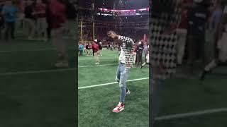 Derrick Henry celebrates after Alabama wins the National Championship in Atlanta