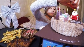 Half Rack Back Ribs + Rib Eye Steak + Merry Christmas | MUKBANG