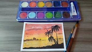 Watercolor painting    melukis pemandangan pantai menggunakan cat air