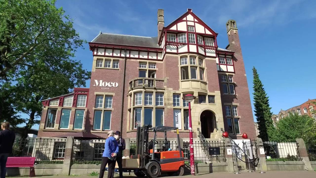 Moco Museum brings Banksy to the streets of Amsterdam - YouTube