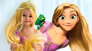 Costumes Disney Princesses Kids Makeup and New Rapunzel doll & Real Princess Dresses