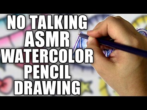 No Talking ASMR Drawing with Watercolor Pencils, Painting