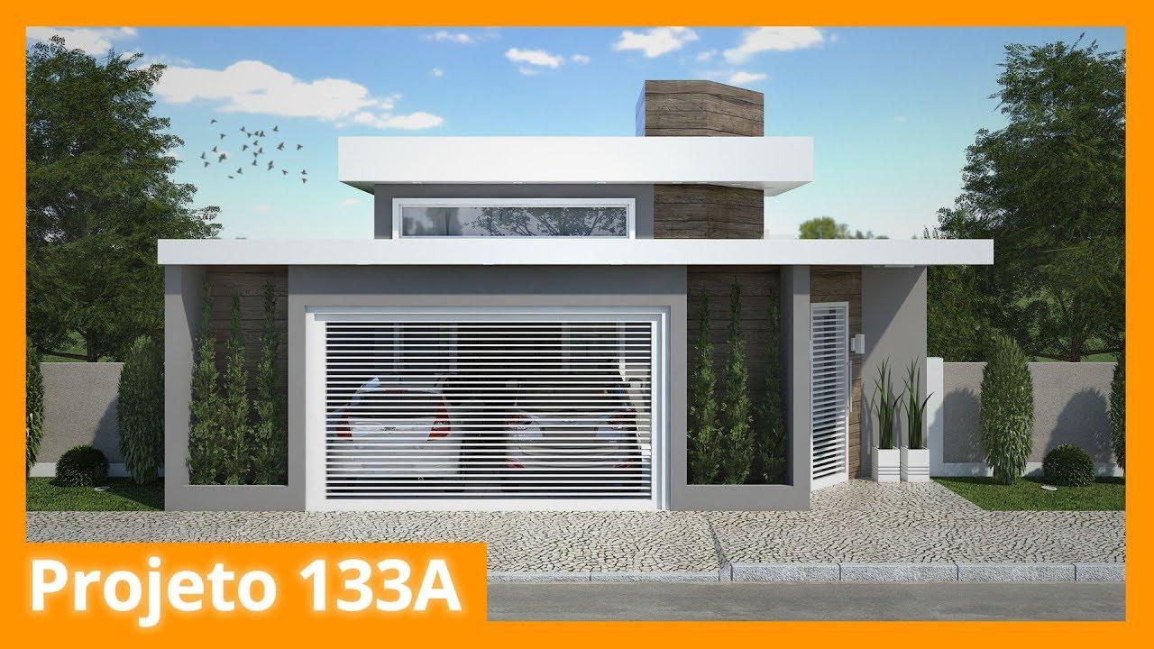 Planta de casa t rrea com ed cula e piscina 133a youtube for Casa moderna 2 andares 3 quartos