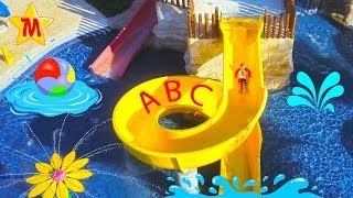 Cute Max in Water Park Pretend Play Fun Water Slides For Kids IRL