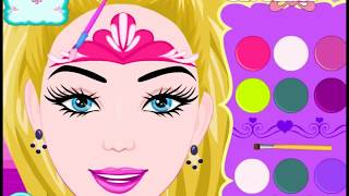 Игра про Барби! Рисунки на лице! Видео для девочек!