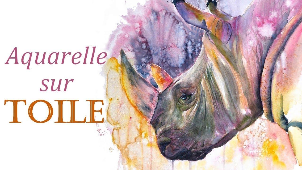 Peindre A L Aquarelle Sur Toile Demo Rhinoceros Youtube